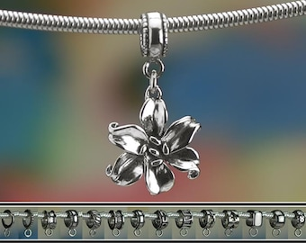 Sterling Silver Lily or Daylily Charm or European Style Bracelet .925