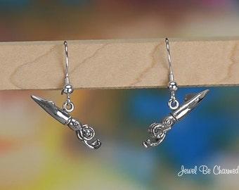 Sterling Silver Squid Earrings Pierced Fishhook Earwires Solid .925