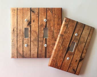 Rustic wood Light Switch Plate // Wood Planks brown image 73 // ** SAME DAY SHIPPING
