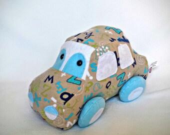 Plush car, my first car, car to tiny, very soft plush car, safety eyes
