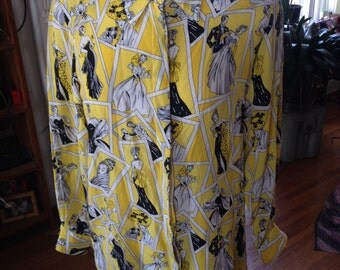 RESERVED Vintage Yellow All Over Print Blouse 100% Silk by Piano size Large