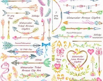 BIG SET of Watercolor Tribal Arrows Clip art, Handpainted clipart, PNG, diy greeting card, wedding clipart, for Personal and Commercial Use