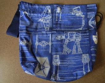 Drawstring Knitting Project Bag with Pockets - Star Wars Blueprints
