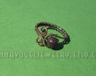 Faceted Safflower Jasper and Antiqued Copper Wire Weave Ring,  Adjustable