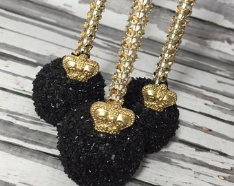 12 Little Prince Black Gold Crown Cake Pops First Communion Baptism Christening Sweets Table Baby Shower Birthday Party Favors