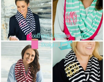 Monogrammed Scarf   5 Colors   Monogrammed Inifinity Scarf   Mongrammed Winter Scarf   Personalized Scarf   Embroidered Scarf