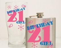 ON SALE - 21st Birthday Flask Gift Set, 21st Birthday Glass, Girls birthday Gift, Custom 6 oz hip flaskt, Milestone Birthday Gift, Humorous