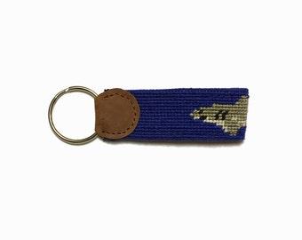 Shark Bait Needlepoint Key Fob