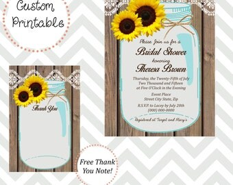 Sunflower Mason Jar  Bridal Shower Invitation DIY Printable