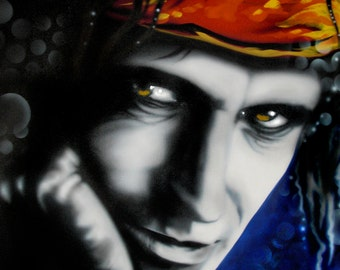 KEITH RICHARDS celebrity portrait painting by Artist Alicia Hayes