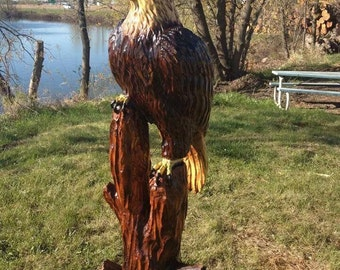 3.5' Natural Eagle -Wood Art, Wooden Sculpture, Wood Carving - Chainsaw Carved Tree, carved by wildlife family artists - Free Shipping!