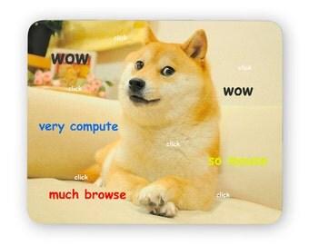 Doge wow - funny desk mouse pad, meme mouse pad, comptuer mouse pad, desk accessory mouse mat 3P001B