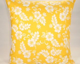 Hibiscus Pillow Cover, Tropical Flower Pillow, Yellow Pillow, 16x16 Pillow