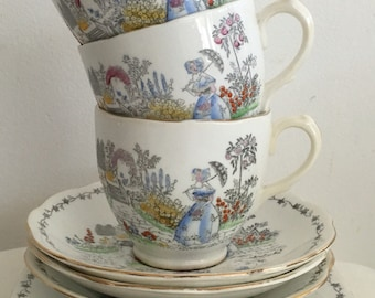 Bell China Fine Bone China  Set of TW0 Trios 2544  Handpainted flowers 1950s