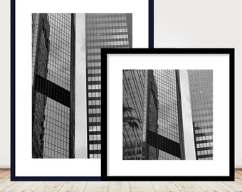 Black and white architecture prints, modern abstract photography set of 2 pictures, large geometric wall art grouping, minimal wall decor