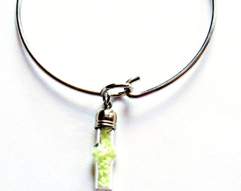 Bangle Bracelet with Glow in The Dark Glass Vial Cross Charm