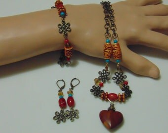 Handcarved Wooden Heart Jewelry Set/ Red and Turquoise Colors/ 18-1/2 inches