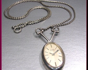 Vintage Sterling Silver Gucci Pendant Watch Necklace