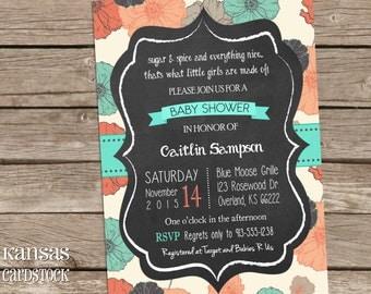 Girl Baby Shower Invitation, Floral baby shower invitation, Baby Girl, Chalkboard, Coral and Aqua, DIY