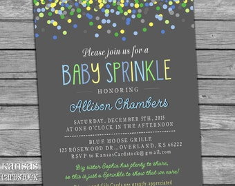 Sprinkle Shower Invitation Boy Aqua Blue Green Yellow