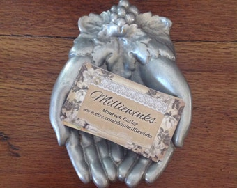 Silver colored metal Victorian hands.....vintage.....coin dish.....candy....rings.....business cards
