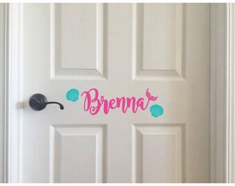 Custom Vinyl Decal - Mermaid Under the Sea Ariel - Kids Room Door Wall Above Bed - Personalized Name