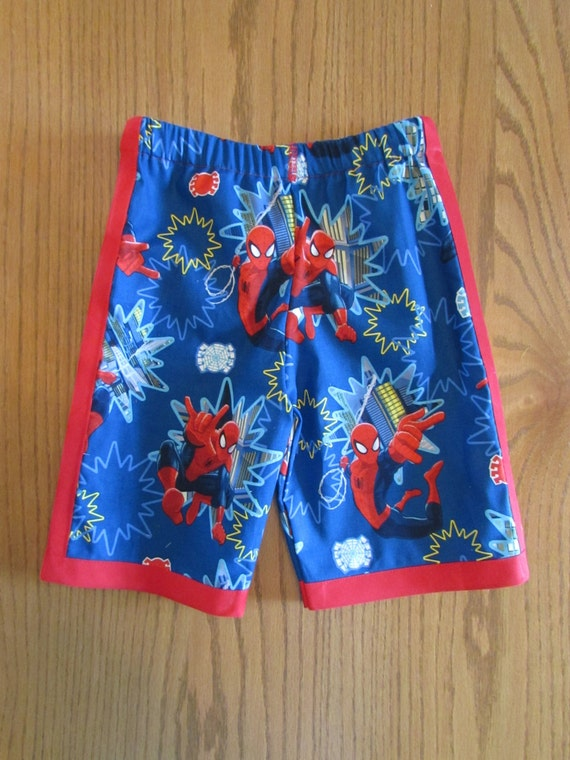 Spider man shorts / cotton / red or yellow edge / elastic waste / back pockets