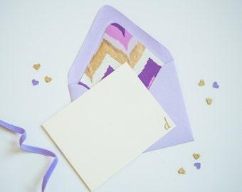 Envelope Liners Envelope Liner Lined Envelopes Lined Envelope Personalized Stationery Set Purple Stationery Gold Stationery Initial Notecard