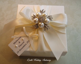 Luxury Gift Box. Pearl and Diamante Gift Box. Wedding Gift Box. Bridesmaids Gift Box.