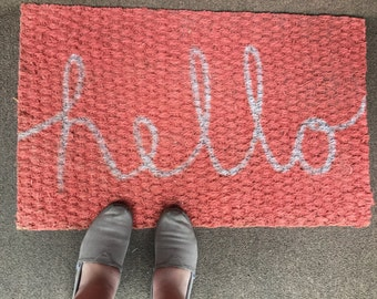 Coral Hello Welcome Mat Hello Door Mat