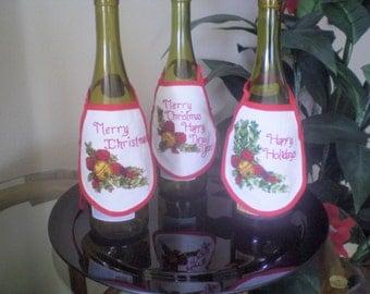Festive Holiday Wine Bottle Apron Set