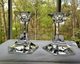 """Pair Josef Riedel Crystal """"Pentagon"""" 4"""" Candlesticks Candle Holders - signed, made in Austria, retired"""