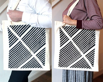 Canvas Tote Bag With Hand Printed Geometric Pattern