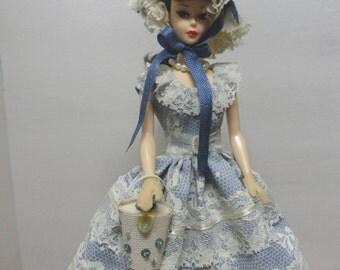 Handmade Barbie Clothes Southern Belle Costume Vintage Fashion Doll Dress Dusty Blue Barbie Doll Dress Set Plantation Belle Reinterpretation