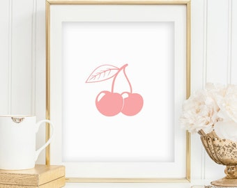 Cherry Print Cherry Art Print Fruit Print Kitchen Wall Decor Fruit Art Cherries Print Kitchen Art Food Art Print INSTANT DOWNLOAD 0083