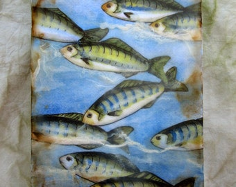 Original encaustic painting - Minnows, mixed media, encaustic art