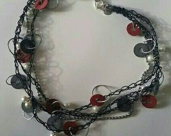 "Black, Red, and Gray Rings 22"" Necklace, 41-0001"