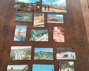 Assemblage of 14 Vintage Color Postcards of Vermont Skiers and Ski Mountains