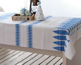 Laminated Linen Fabric Blue Herring By The Yard