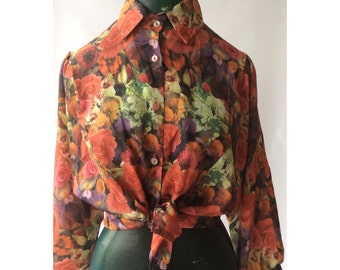 Vintage Blouse Floral Print Photo Graphics Made in Denmark 70s Puff Sleeve Fitted 90s Hipster Boho Button Up