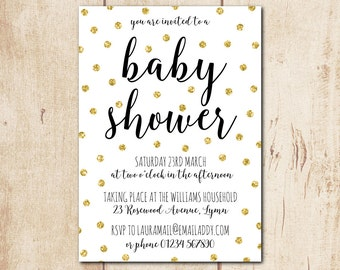 "Gender Neutral Baby Shower Invitation - Personalised Invitation, Gold Glitter Invitation, Shower Invite, Printable Invitation 5x7"" (bsi4)"