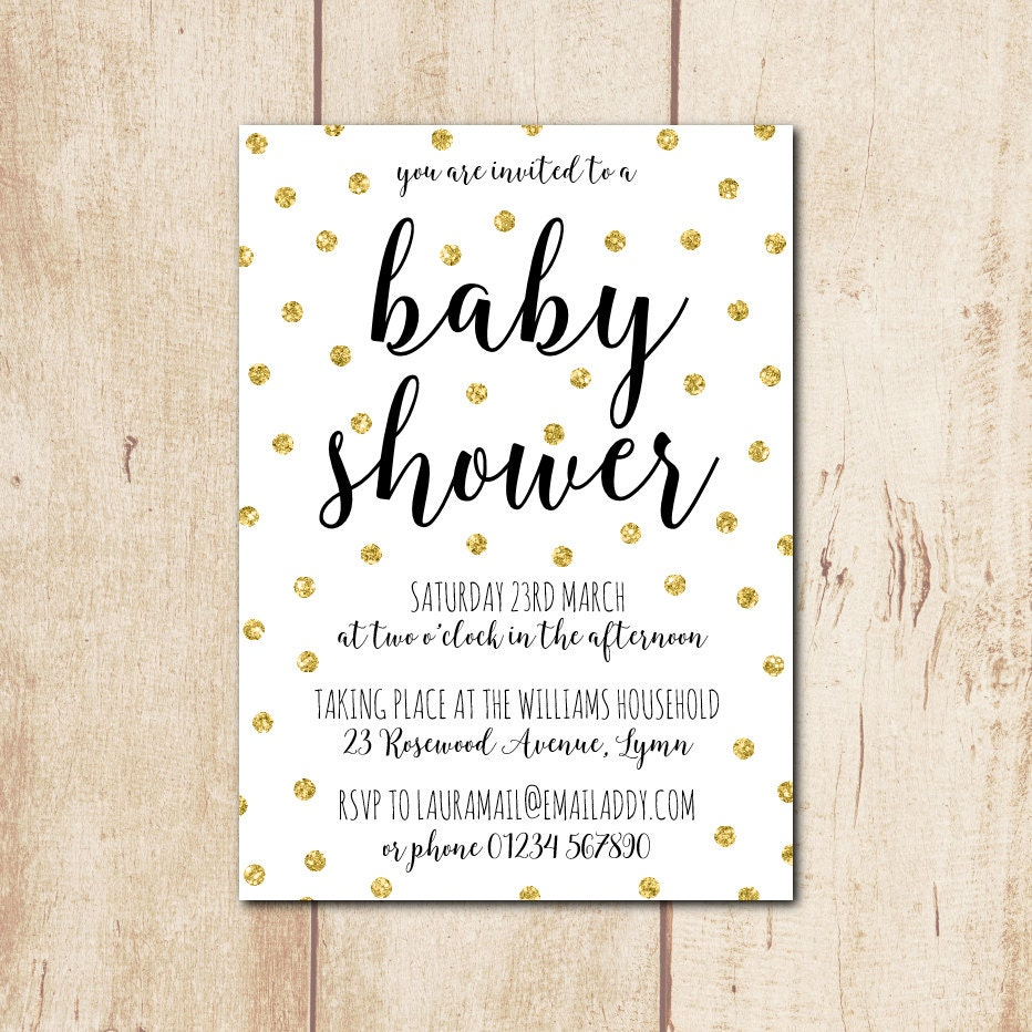 gender neutral baby shower invitation personalised