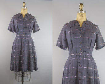 PInk Moon Dress / 50s Dress / 1950s Dress / Gray and Pink Dress