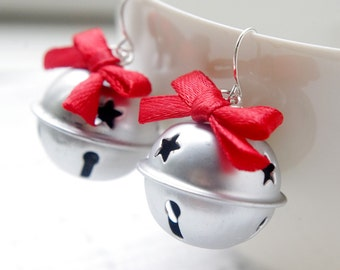 CHRISTMAS COLLECTION:Silver tone Jingle bell with red ribbon bow earrings,Christmas gift,party earring,unusual festival earrings