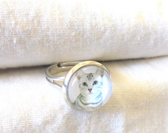 Tabitha Cat Ring, Cat Jewelry, Glass Picture Ring, Rhodium Titanium, Adjustable Ring