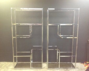 Chrome and Smoked Glass Etagere, A Pair