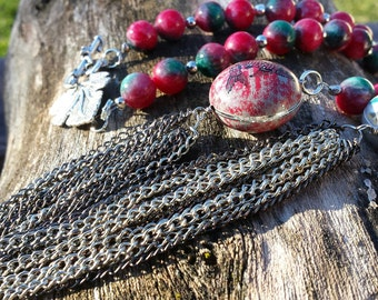 Necklace - Red & Green Agate With Oriental Beads