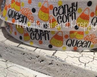 "7/8"" HALLOWEEN FOE Glitter Candy Corn Cutie Fold Over Elastic sold by the yard"