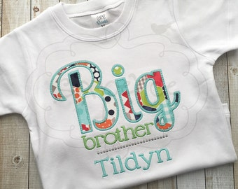 Big Brother Shirt | Shirt or Bodysuit | Custom Appliquéd & Embroidered | Brother Outfit | Matching Brother Shirt | By Sixpence