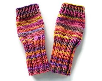 Kids Fingerless Gloves - Sherbet Gloves - Girls Fingerless Gloves - Tween Girl Gloves - Sunset Gloves - Girls Arm Warmers - Big Kids Gloves